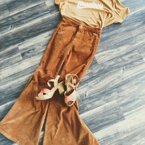 Free People Rust Brown Corduroy Flare Pants